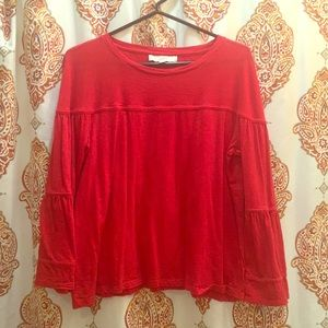 Size Large Loft Top Bell Sleeve Red